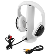 OH 5 In 1 HiFi Wireless Headphone FM Radio Monitor MP3 Audio White (Intl)