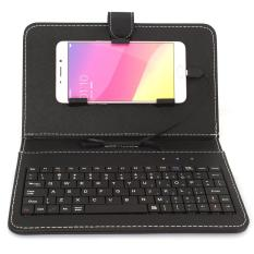 Oh ponsel seluler mikro USB keyboard untuk pelindung kasus sampul stan Android (Hitam)