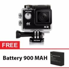 Onix XCOM X3 Action Camera 4K Ultra HD 16MP WIFI HITAM Carton Box Gratis Battery 900 Mah