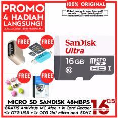 Original 100% SanDisk Ultra UHS-1 Micro SDHC Action Cam + Full HD 48MB/s Memory Card - Class 10 Gratis Premium Antivirus MC Afee + OTG 2in1 for Memory + OTG USB / Flash Disk + Card Reader