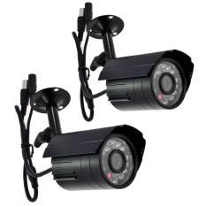 Outdoor 420TVL 24 LEDs Mini Digital Video CCTV Security Infrared Camera Set of 2 (Black)
