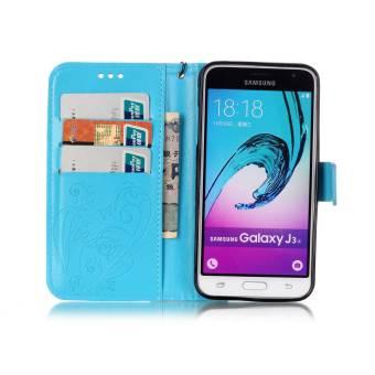 Pola Dompet Slot Kartu Kupu-kupu PU Kulit Untuk Menutupi Kasus Samsung Galaxy J3 (