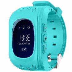 Ponsel pintar menonton anak-anak nak jam tangan Q50 GSM GPRS pelacak GPS pelacak anti hilang jam pintar anak penjaga untuk iOS Android (biru)