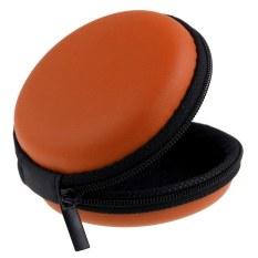 Portable Earphone Headphone SD TF Card Round Storage Earbuds Bag Pouch Hard Case Orange