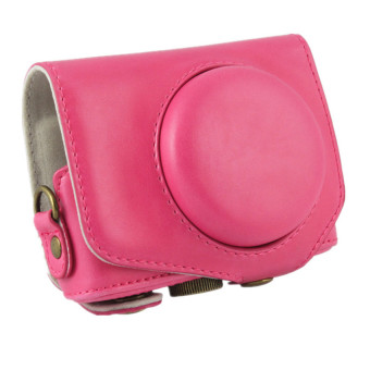 PU Leather Camera Case Bag Cover For Canon G7.1 Digital + Strap Rose Red