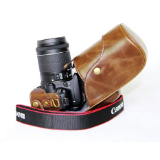 PU Leather Camera Case Bag Cover With Tripod Design For Canon EOS100D Coffee (Camera Not Included)