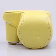 Pu Leather Camera Shoulder Bag Case For Sony Alpha A5000 A5100compact Digital Camera Color:Yellow