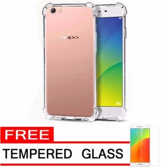 QCF Anti Crack Oppo A57 Case Anti shock Oppo A57 / Silicone CaseSilikon Oppo A57 + FREE Tempered Glass - White