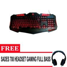 Rexus K7M Backlit Multimedia Keyboard Gaming - Hitam + Gratis Headset Gaming Sades 708 Full Bass