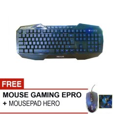 Rexus Keyboard Gaming Extream K1 Free Mouse Epro EM009L + MousePad Hero- Hitam
