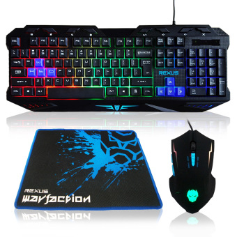 Rexus Keyboard Mouse Combo + Mousepad Gaming VR1 Warfaction Backlight - Hitam