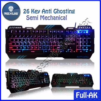 Rexus KX1 Keyboard Gaming Battlefire Rainbow Backlight + 7 Colors LED - Hitam