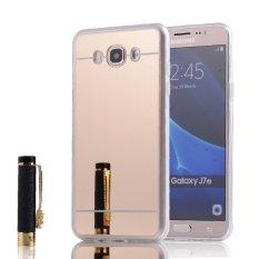 RUILEAN Soft TPU Case Cover for Samsung Galaxy J7 2016 J710 Flexible Bumper Mirror Effect Electroplate Back Gold - intl