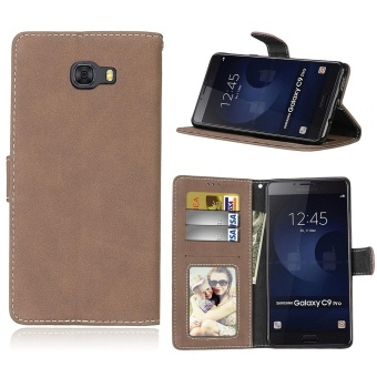 Samsung Galaxy C9 Pro Case, Retro Frosted PU Leather Flip MagnetWallet Stand Card Slots Protective