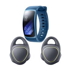 Samsung Gear IconX SM-R150NZKAXSE - Hitam + Samsung Gear Fit 2 Long Strap SM-R3600ZBAXSE - Biru