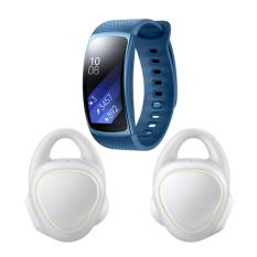 Samsung Gear IconX SM-R150NZWAXSE - Putih + Samsung Gear Fit 2 Long Strap SM-R3600ZBAXSE - Biru
