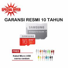 Samsung MicroSDHC Evo PLus 16GB / 80MB/s With Adapter - Merah + Kabel Micro USB