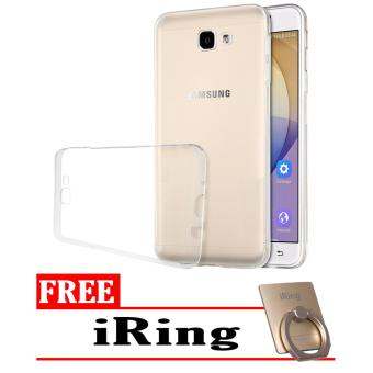 Softcase Silicon Ultrathin for Samsung Galaxy J7 Prime - Putih Clear + Free iRing