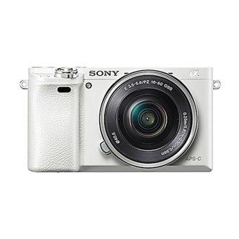 Sony Alpha A6000 Kamera Digital Mirrorless - Lensa 16-50mm - 24.3MP - Putih