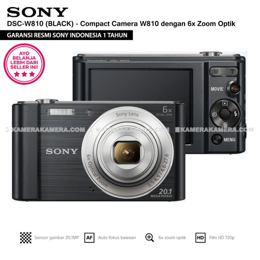 SONY Cyber-shot DSC-W810 Compact Camera W810 (BLACK) 20.1 MP 6x Optical Zoom HD Movie 720p - Resmi Sony