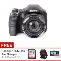 Sony Cybershot DSC-H400 - 20.1 MP - 63x Optical Zoom - Hitam + Gratis SD Card 16Gb + Antigores + Tas Semipro