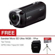 Sony Handycam HDR CX-405 Full HD - 9.2 Megapixels - Hitam + Gratis Micro SD + Tas + Mini Tripod