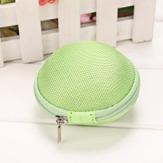 Sunweb Portable Round Hard Earphone Carrying Case Earbuds SD / TF Cards Storage Wallet (Green)