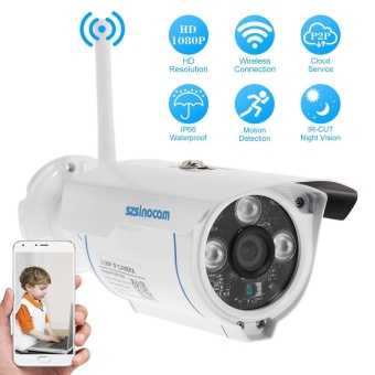 szsinocam 1080P Wireless WIFI HD Bullet IP Camera 2.0MP 3 Array IR LEDS 1/3'' CMOS 4mm Lens H.264 P2P Waterproof Support Night Vision Motion Detection Phone APP Control for CCTV Security ^ - intl