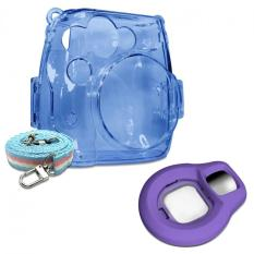 Takashi Blue Crystal Protective Case + Grape Selfie Close-up Lens For Fujifilm Instax Mini 8 Instant Camera