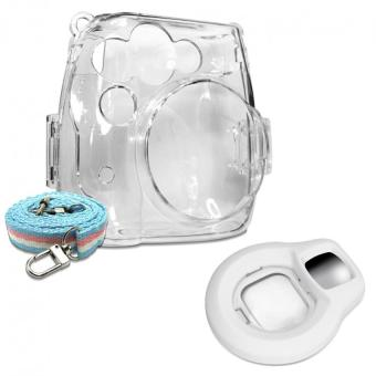 Takashi Clear Crystal Protective Case + White Selfie Close-up Lens For Fujifilm Instax Mini 8 Instant Camera