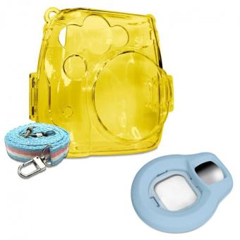 Takashi Yellow Crystal Protective Case + Blue Selfie Close-up Lens For Fujifilm Instax Mini 8 Instant Camera