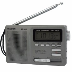 Tecsun DR-920C Radio FM MW SW 12 Band Digital Clock Alarm Receiver & Backlight FM Portable Radio (Grey)