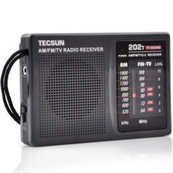 TECSUN Multi-band FM / AM And TV Audio Channel Black Radio Receiver R-202T