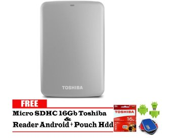 Toshiba Canvio Basic 2TB - HDD / HD / Hardisk Eksternal - Silver + Gratis Micro SDHC 16Gb Toshiba + Reader Android + Pouch Harddisk