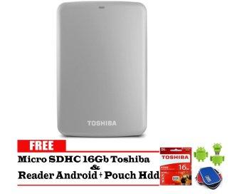 Toshiba Canvio Basic 2TB - HDD / HD / Hardisk Eksternal - Silver + Gratis Micro SDHC 16Gb Toshiba + Reader Android + Pouch Harddisk