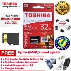 TOSHIBA Micro SD Card + Adapter 32GB Class 10 U3 / Ultra High Speed 3 for Cellphone Tablet Smart Device - Merah + Gratis Otg Reader For Sdhc & Micro Sd + Tas Waterproof + Kabel Charger Micro Usb + Charger Adapter