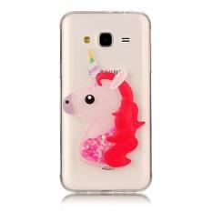 TPU soft shell case for Samsung galaxy J7 2016 / J710 quicksand flash powder unicorn pattern sapphire crystal diamond cell phone cases - intl