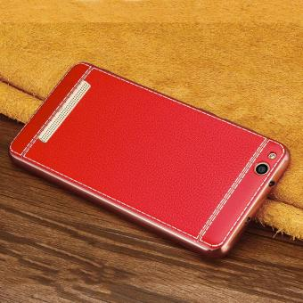 Ultra Thin Slim Litchi Grain Plating Leather Case Soft TPU BackCover For Xiaomi Redmi 4A -