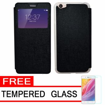 UME Flip Cover Case Leather Book Cover Delkin for Vivo Y55 - Black+ Free Tempered Glass