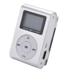 Universal Pod MP3 Player TF Card with Small Clip Silver and LCD Screen - Silver