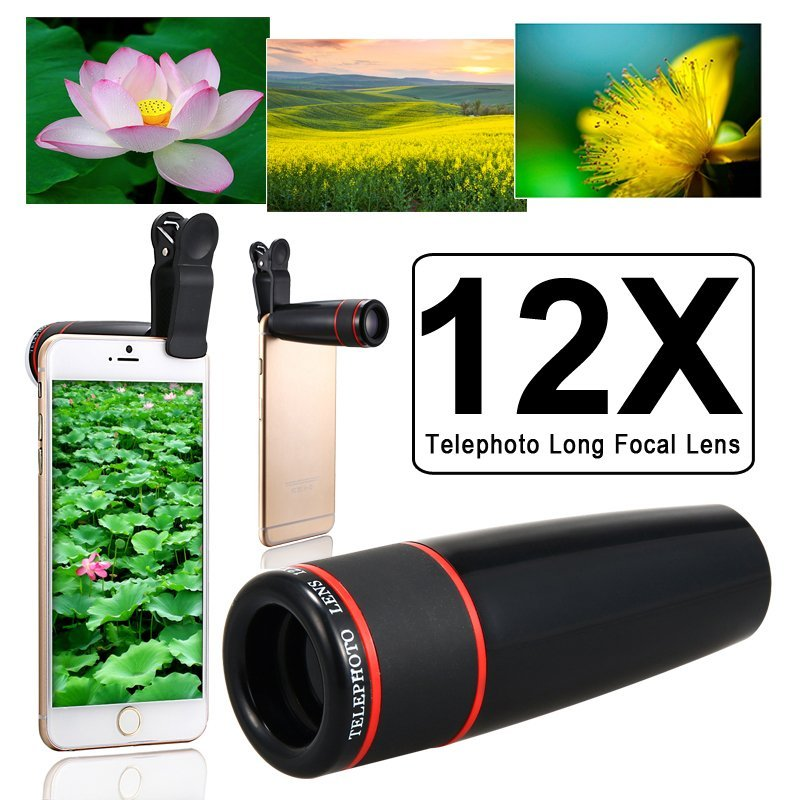 Unviersal 12X Zoom Phone Telephoto Camera Lens With Clip For Smartphone