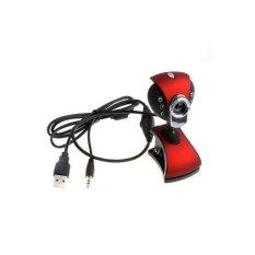 USB 2.0 50.0.6 LEDs PC Camera HD Webcam With MIC For Laptop Desktop (Red&Black)