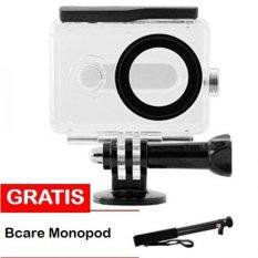 Water Proof Anti Blur Case IPX68 40m for Xiaomi Yi Sports Camera - Hitam + Bcare Monopod