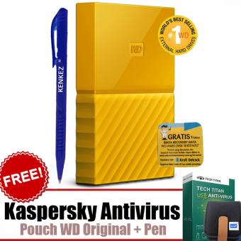 "WD My Passport ULTRA New Design 1TB Portable Storage USB 3.0 - Kuning Harddisk Eksternal 2.5"" + Gratis Kaspersky USB Antivirus + Pouch WD Original + Pen"