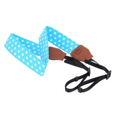 White And Blue Universal Adjustable DSLR Camera Shoulder Neck Strap Belt Soft Cotton Polka Dots With Harness Adapter For Nikon Canon Panasonic