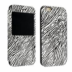 xfsmy Black White Zebra Print Foldable Stand Folio Flip CoverSynthetic Leather TPU Case with Window View