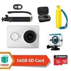 XiaoMi XiaoYi Yi Sports Action Camera Full HD Video Recorder Camera(White) + Waterproof Case + Remax 16GB Class 10 + Bobber + Monopod+ Remote + Bag
