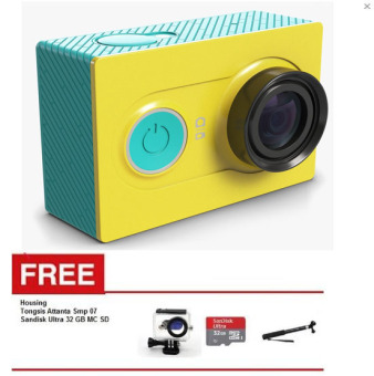 Xiaomi Yi Action Cam WiFi 16MP 1080P International Version Hijau +Waterproof + Sandisk Ultra 32 GB + Tongsis