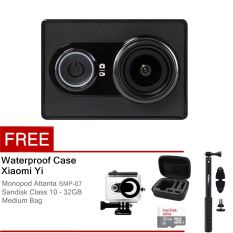 Xiaomi Yi Action Camera - 16 MP - Hitam + Waterproof Case + Basic Package With Medium Bag