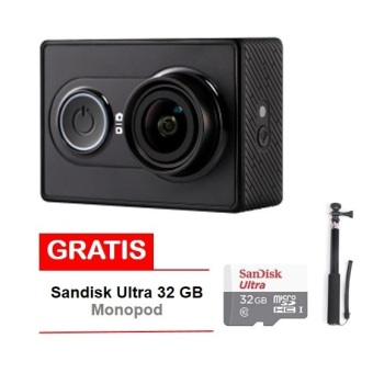 Xiaomi Yi Action Camera - 16 MP - International Edition- Hitam + Sandisk 32 GB + Monopod